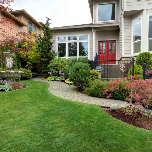 A Home With a Front Yard Garden.