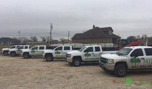 MDM Landscape Trucks Lined Up as Landscapers Present the Benefits of Mulch