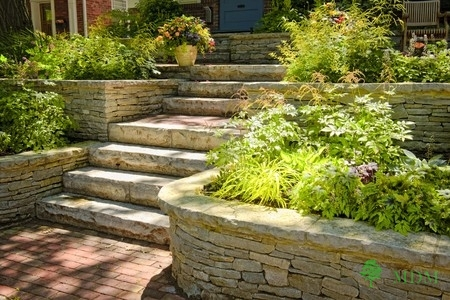 A Picture of a Retaining Wall with Plants in it.
