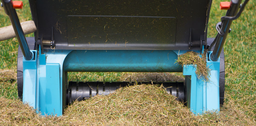 An Up Close Picture of a Soil Aeration Machine.
