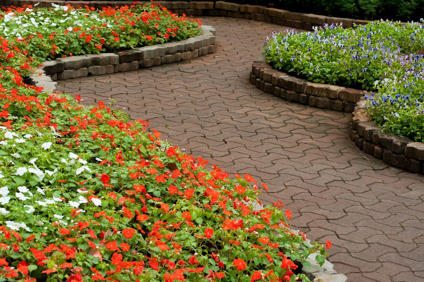 A Picture of a Stone Walkway in Flower Garden.